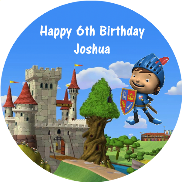 MIKE THE KNIGHT PERSONALISED EDIBLE ROUND CAKE TOPPER